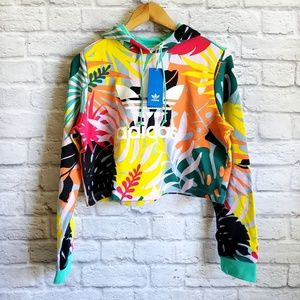 ADIDAS Colorful Palm Oversize Crop Hoodie